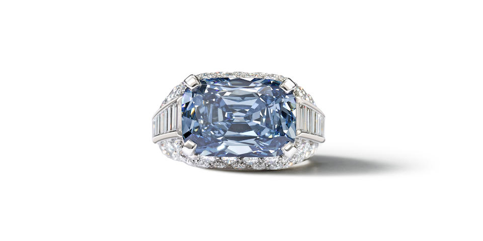 Fancy deep-blue diamond, set in a 'Trombino' ring made by Bulgari