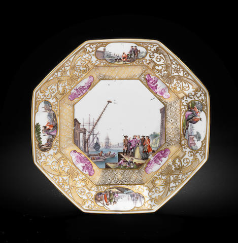 A Meissen octagonal plate from the Christie-Miller service circa 1740