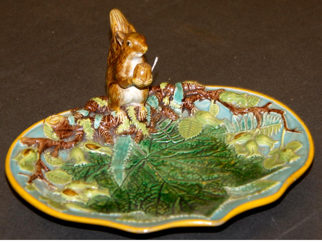 A George Jones majolica nut dish, circa 1870-80