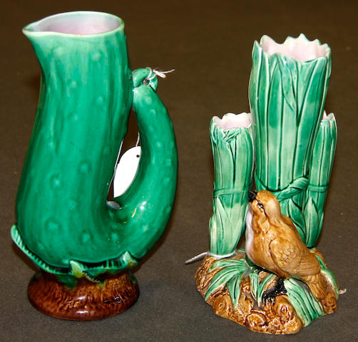 An English majolica spill vase and a jug, 19th century