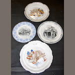 A group of commemorative plates, a Crown Devon musical jug and a set of six Minton tiles
