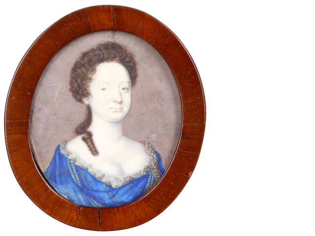 Attributed to Nicholas Dixon (British, active circa 1660 active - died after 1708) A Lady, wearing blue dress edged with gold brocade, strands of pearls and lace trim to her décolleté, her brown hair partially upswept and curled in ringlets falling over her right shoulder