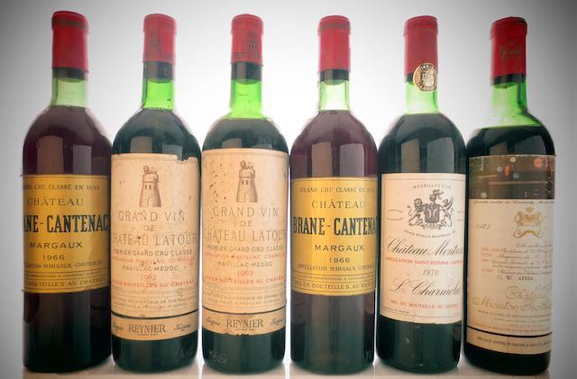Chateau Latour 1962 (2)<BR />Chateau Latour 1973 (1)<BR />Chateau Margaux 1964 (2)<BR />Chateau Brane Cantenac  1966 (2)<BR />Chateau Cos d'Estournel 1970 (2)<BR />Chateau Montrose 1970 (1)<BR />Chateau Mouton Rothschild 1971 (1)<BR />Chateau Lafon Rochet 1971 (1)