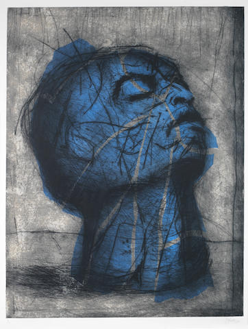 William Joseph Kentridge (South African, born 1955) 'Head (Blue)'