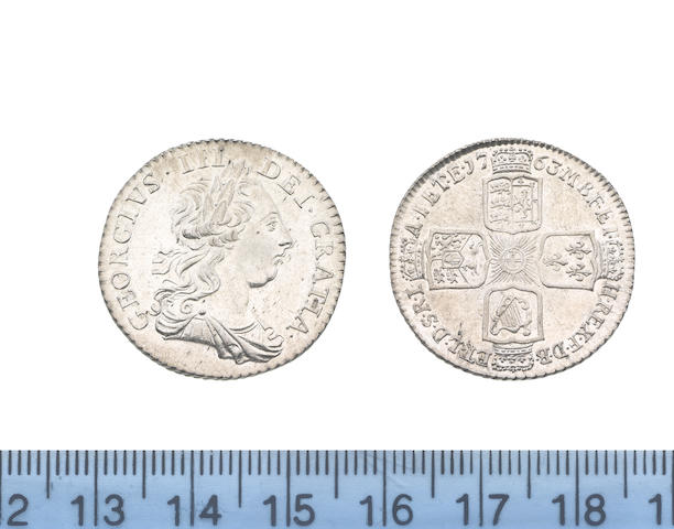 George III, 'Northumberland' Shilling, 1763, young laureate and draped bust right,