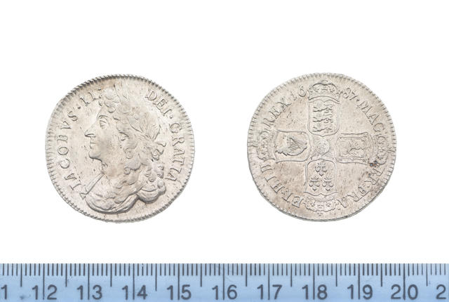 James II, Halfcrown, 1687, first laureate and draped bust left,