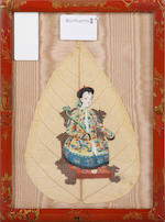 A pair of Chinese bo-tree leaf paintings, framed, 20 x 15cmand a pair of Regency oval silk work flower pictures, 28cm high (4)