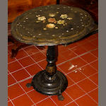 A Victorian black Japanned papier mache shaped occasional table