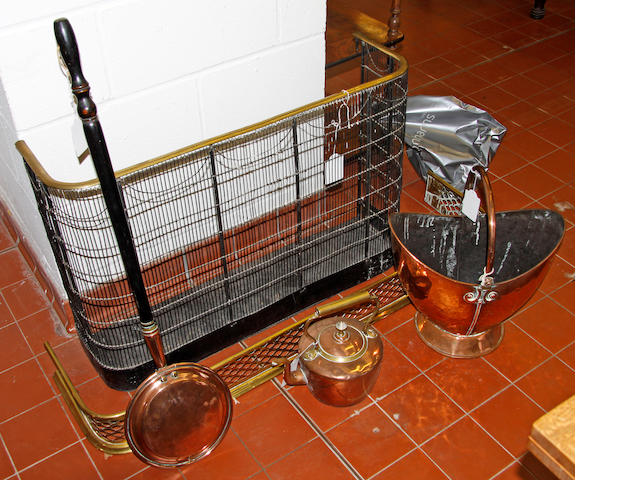 A Victorian brass fender, 125cm widea Victorian steel and brass nursery fender, 92cm wide; a coal bucket; a copper kettle; a bed warming pan & an oval mirror, (6)