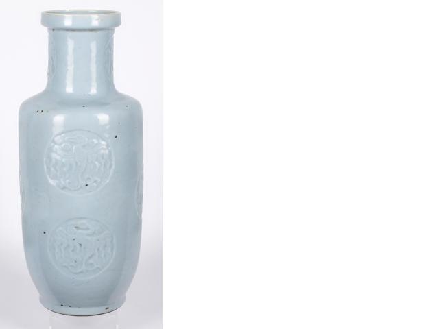A Chinese turquoise glaze rouleau vase