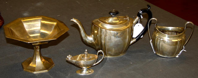 A George V silver teapot and sugar basin, silver tazza, novelty cigar lighter 4