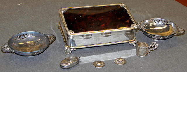 A George VI silver & tortoiseshell box, Hamilton & Inches, six other collectibles (7)