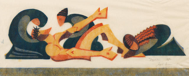 Sybil Andrews, CPE (British/Canadian, 1898-1993) Deposition Linocut printed in raw sienna, spectrum red, cobalt blue and Chinese blue, 1932, a good impression, on buff oriental laid tissue, signed, titled and numbered 12/60 in pencil, with margins, 123 x 350mm (4 7/8 x 13 3/4in)(B)