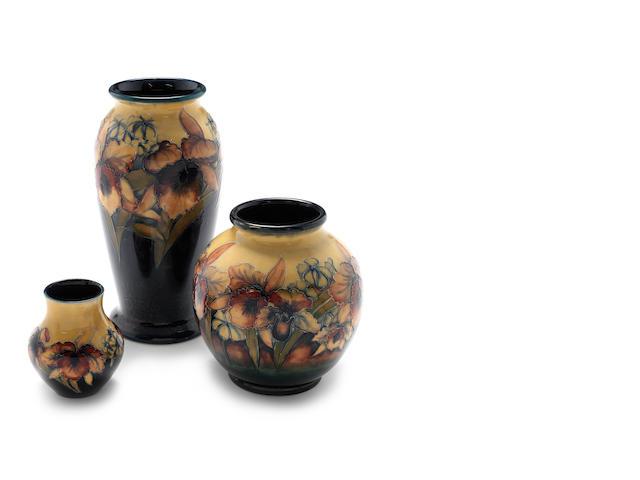 William Moorcroft 'Orchid' a vase, circa 1928