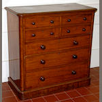 A Victorian mahogany chest, the moulded rectangular top above four short and three long drawers, on a moulded plinth base, 104cm.