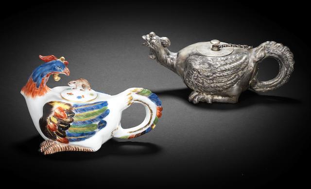 A Meissen rooster teapot circa 1735