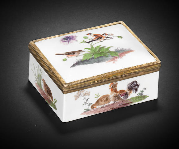 A Meissen silver-gilt-mounted rectangular snuff box, circa 1760