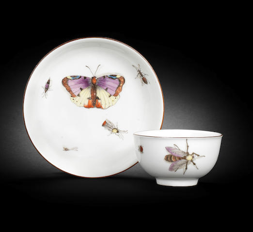 A Meissen teabowl and saucer, circa 1740