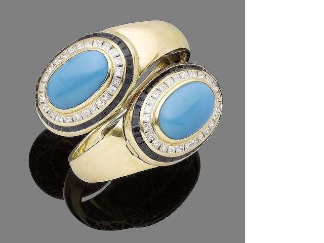 A turquoise, sapphire and diamond hinged bangle