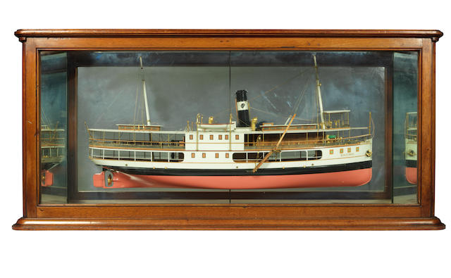 A mirror back half model of the River steamer Riozinho. 40x18.5x8.5ins (102x47x22cm)