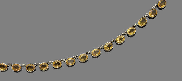 A citrine rivière necklace,