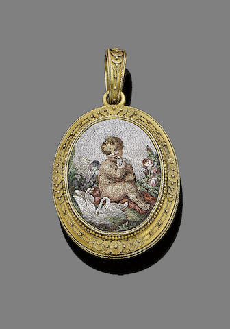 A gold and micromosaic locket pendant,
