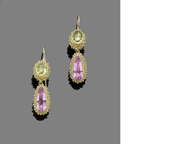 A pair of gold and gem-set pendent earrings,