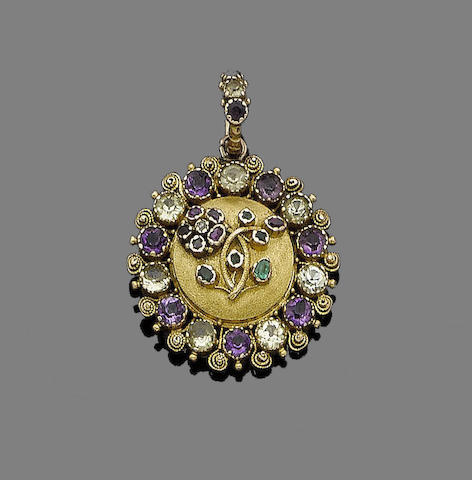 A gold and gem-set 'Regard' pendant,