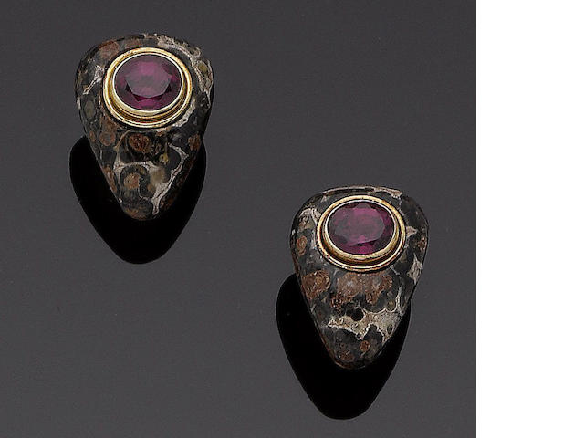 A pair of jasper and garnet earclips,  by Deakin & Francis