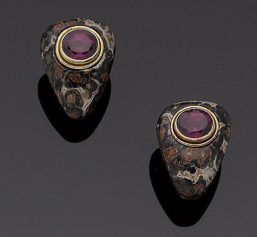 A pair of jasper and garnet earclips,  by Deakin & Francis