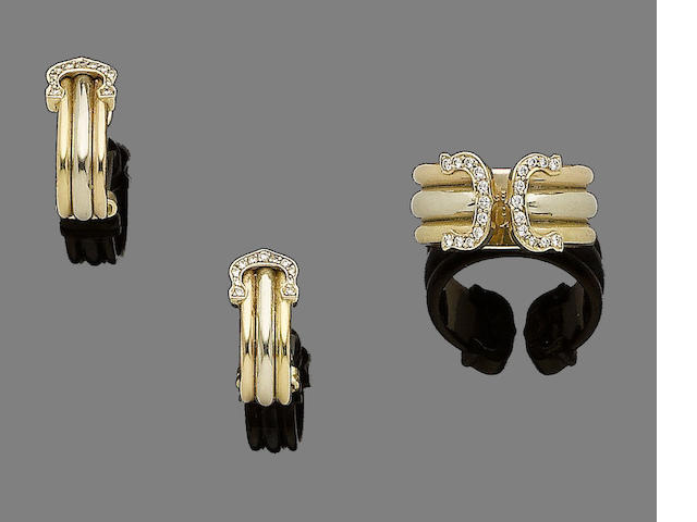 A diamond-set 'Double C Decor' ring and earhoop suite, by Cartier (2)