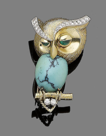 A gem-set owl clip brooch, by Cartier
