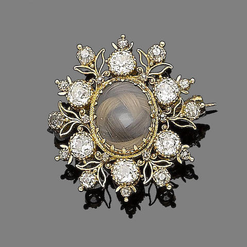 A 19th century gold, diamond and hairwork mourning brooch