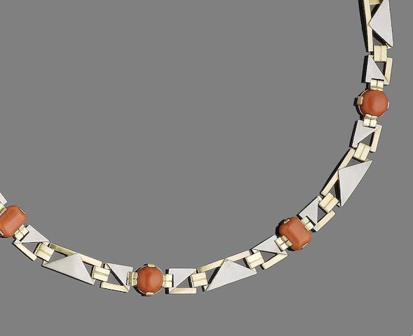 A coral fancy-link bracelet,