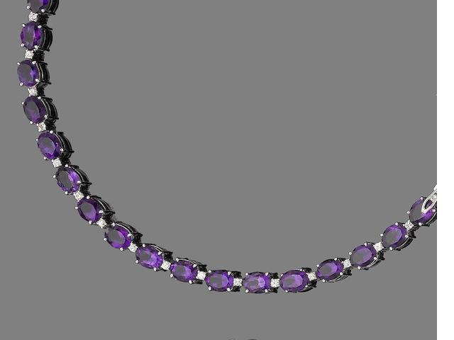 An amethyst and paste bracelet