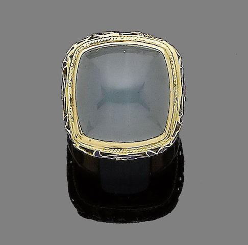 An aquamarine and enamel dress ring