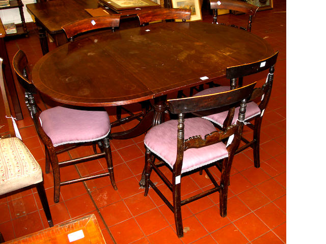 A reproduction drop-leaf dining table, six dining chairs, another pair of chairs and a single chair. (10)