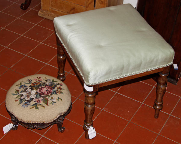 A Victorian tapestry covered circular foot stool; a Victorian stool on turned legs and a pine narrow cupboard