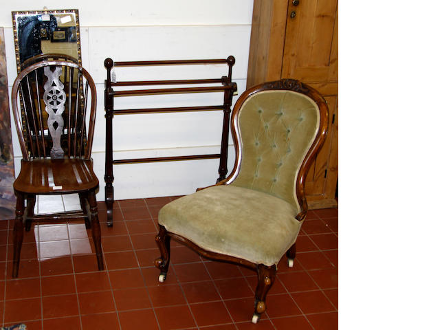 A Victorian walnut ladies chaira towel horse; a long mirror; and a Windsor chair. (4)