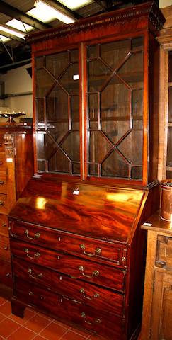 A George III and later mahogany bureau bookcase
