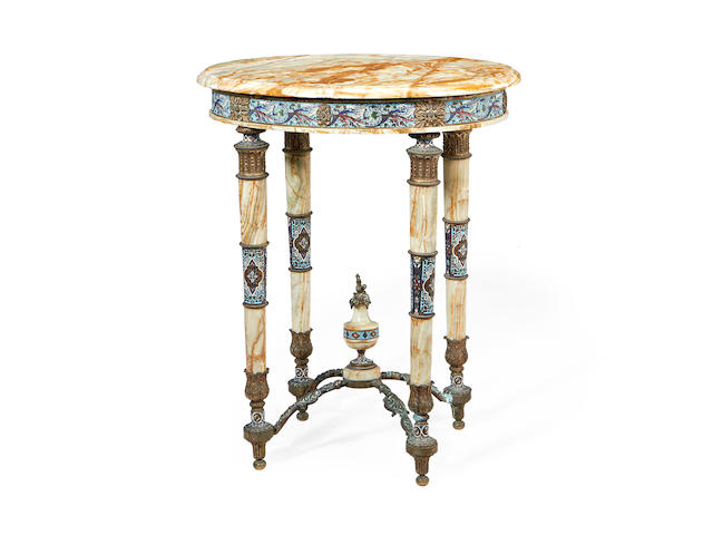 A French 19th century champlevé enamel and gilt metal mounted solid onyx table