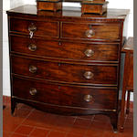 A 19th Century mahogany bow front chest of drawersfited with two short and three long drawers, on bracket feet, 104cm wide