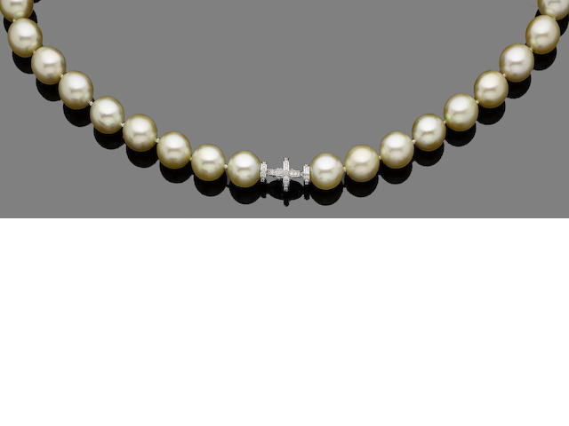 A cultured pearl necklace with diamond clasp
