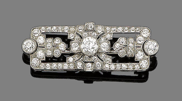 An art deco diamond-set plaque brooch,