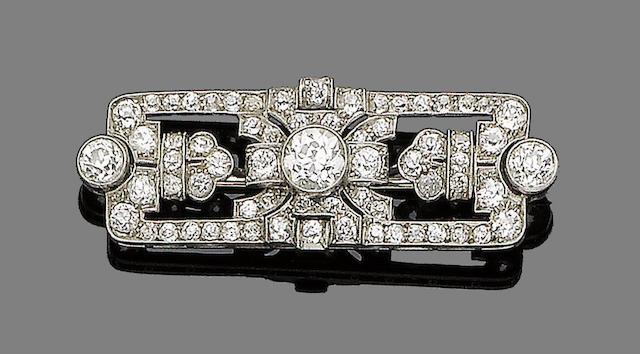 An art deco diamond-set plaque brooch,