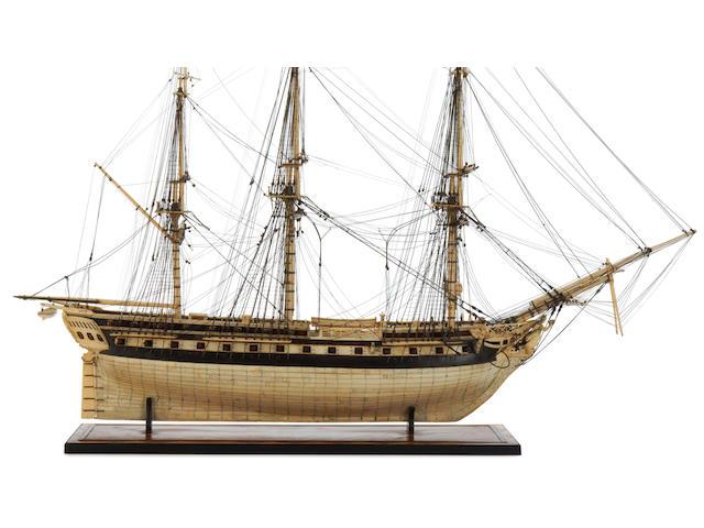 An impressive 19th century Prisoner of War bone model of a 50 gun ship.