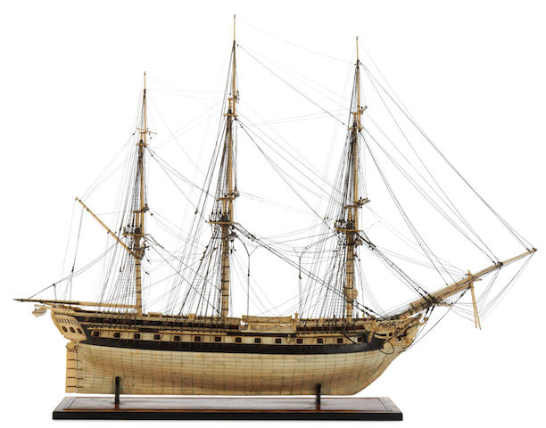 An impressive 19th century Prisoner of War bone model of a 50 gun ship.
