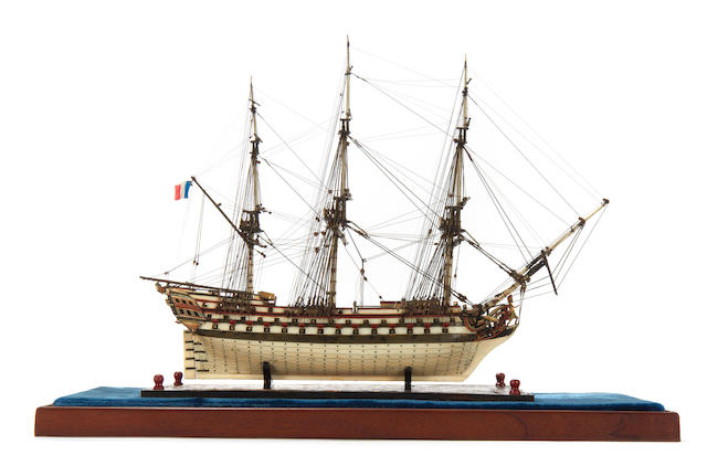 A fine 19th century Prisoner of War bone model of the French Ship of the Line L'Hercule