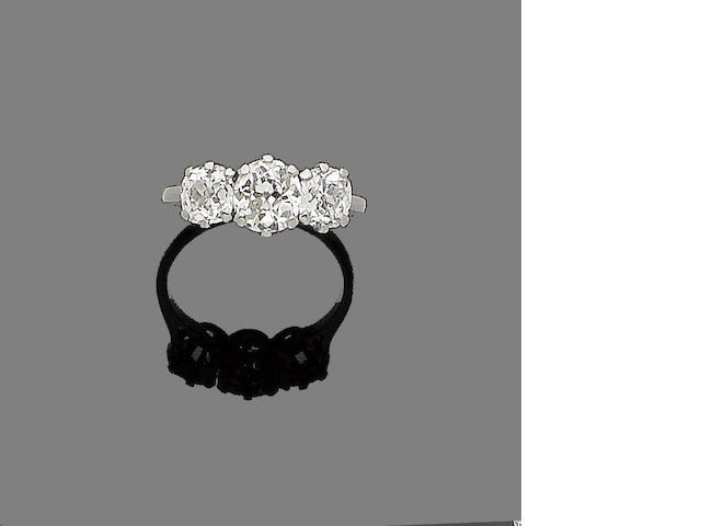 A diamond three-stone diamond ring
