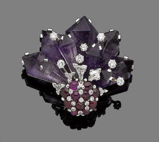 An amethyst, ruby & diamond clip brooch, by Ernst Paltscho,